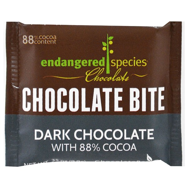Endangered Species Chocolate, Chocolate Bites, Dark Chocolate, .35 oz (9.9 g) (Discontinued Item)