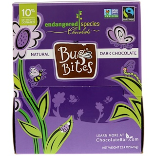Endangered Species Chocolate, Bug Bites, натуральный темный шоколад, 22.4 унц (635 г)