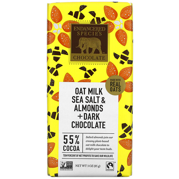 Endangered Species Chocolate, Oat Milk Sea Salt & Almonds + Dark Chocolate, 55% Cocoa,  3 oz (85 g)