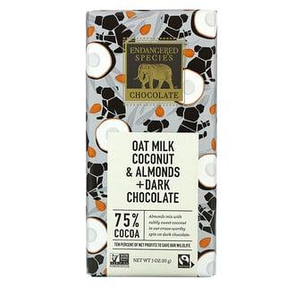 Endangered Species Chocolate, Oat Milk Coconut & Almond + Dark Chocolate, 75% Cocoa, 3 oz (85 g)