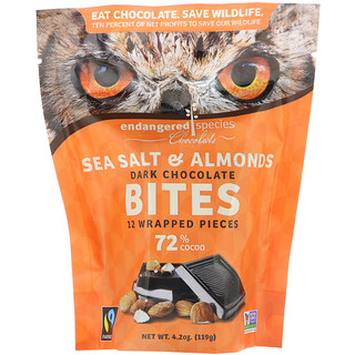 Endangered Species Chocolate, Dark Chocolate Bites, Sea Salt & Almonds, 12 Wrapped Pieces, 4.2 oz (119 g)