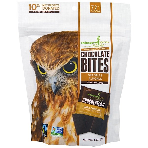 Endangered Species Chocolate, Chocolate Bites, Dark Chocolate with Sea Salt & Almond, 4.2 oz (119 g)