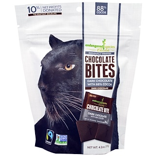 Endangered Species Chocolate, Chocolate Bites, Dark Chocolate, 4.2 oz (119 g)