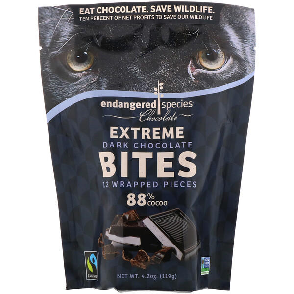 Endangered Species Chocolate, Extreme Dark Chocolate Bites , 12 Wrapped Pieces, 4.2 oz (119 g)