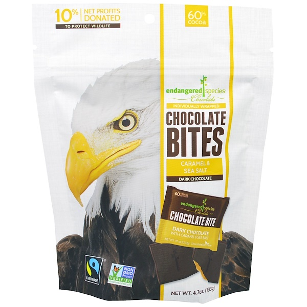 Endangered Species Chocolate, Chocolate Bites, Dark Chocolate with Caramel & Sea Salt, 4.7 oz (133 g)