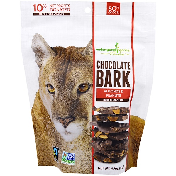 Endangered Species Chocolate, Chocolate Bark, Chocolate Amargo, Amêndoas e Amendoins, 4,7 oz (133 g) (Discontinued Item)
