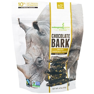 Endangered Species Chocolate, Chocolate Bark, Dark Chocolate, Salted Hazelnut Toffee, 4.7 oz (133 g)