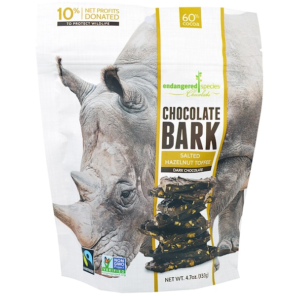 Endangered Species Chocolate, Chocolate Bark, Dark Chocolate, Salted Hazelnut Toffee, 4.7 oz (133 g) (Discontinued Item)