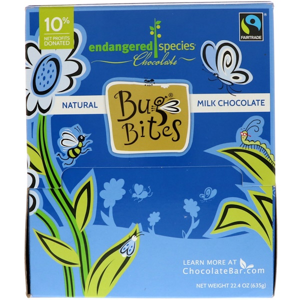 Endangered Species Chocolate, Bug Bites, натуральный молочный шоколад, 22,4 унц. (635 г)