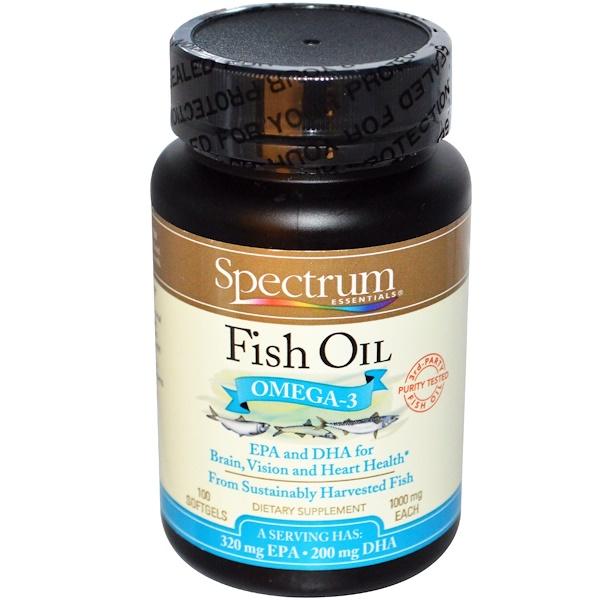 Spectrum Essentials, Fish Oil, Omega-3, 1000 mg, 100 Softgels