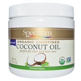 Spectrum Essentials, 오가닉, 코코넛 오일, 비정제, 15 fl oz (443 ml)