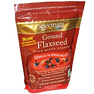 Spectrum Essentials, Ground Flaxseed with Mixed Berries, 12 oz (340 g)