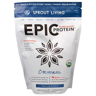 Sprout Living, Epic Plant-Based Protein Powder, Original, 1 lb (454 g)