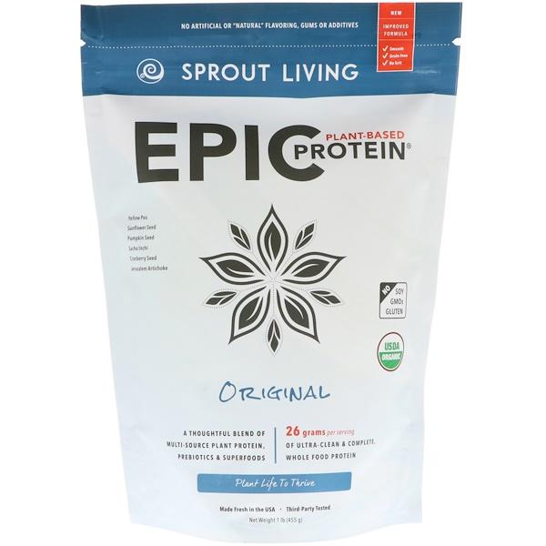 Sprout Living, Растительный протеин, оригинальный, 1 фунт (455 г)