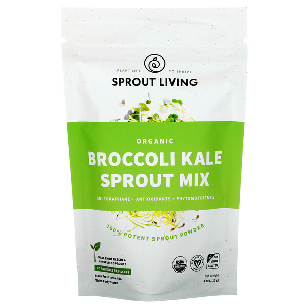 Organic Broccoli Kale Sprout Mix , 4 oz (113 g)