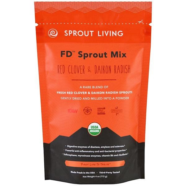 Sprout Living, FD Sprout Mix، برسيم أحمر عضوي والفجل الياباني، 4 أونصات (113 جم)