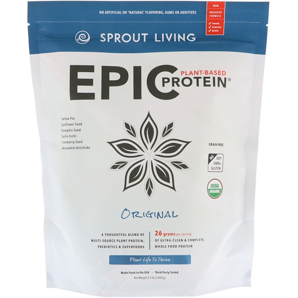 Sprout Living, Epic Plant-Based Protein, Original, 2.2 lb (1,000 g) (Discontinued Item)