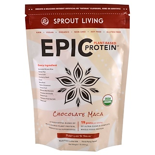 Sprout Living, Epic Protein, Chocolate Maca, 1 lb (454 g)