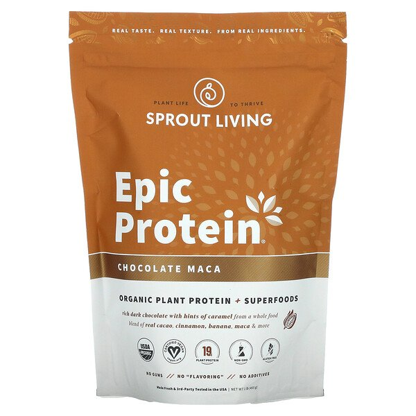 Sprout Living, Epic Protein, Organic Plant Protein + Superfoods, Chocolate Maca, 1 lb (455 g)