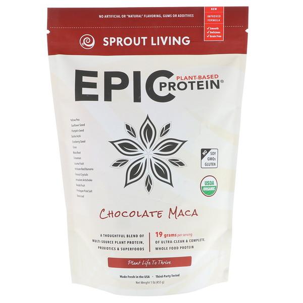 Sprout Living, エピック プロテイン、チョコレート マカ、1 lb (455 g)