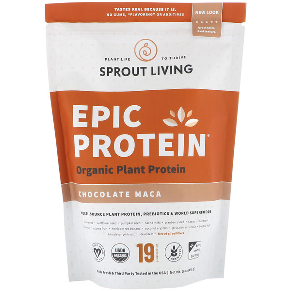 Sprout Living, Epic Protein, Chocolate Maca, 16 oz (455 g)