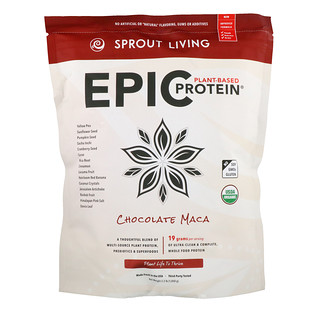 Sprout Living, Organic, Epic Plant-Based Protein, Chocolate Maca, 2.2 lb (1,000 g)