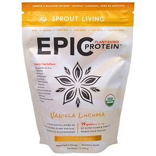 Sprout Living, Epic Plant-Based Protein, Vanilla Lucuma, 1 lb (454 g)