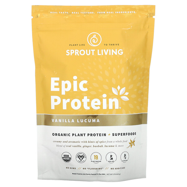 Sprout Living, Epic Protein, Organic Plant Protein + Superfoods, Vanilla Lucuma, 1 lb (455 g)