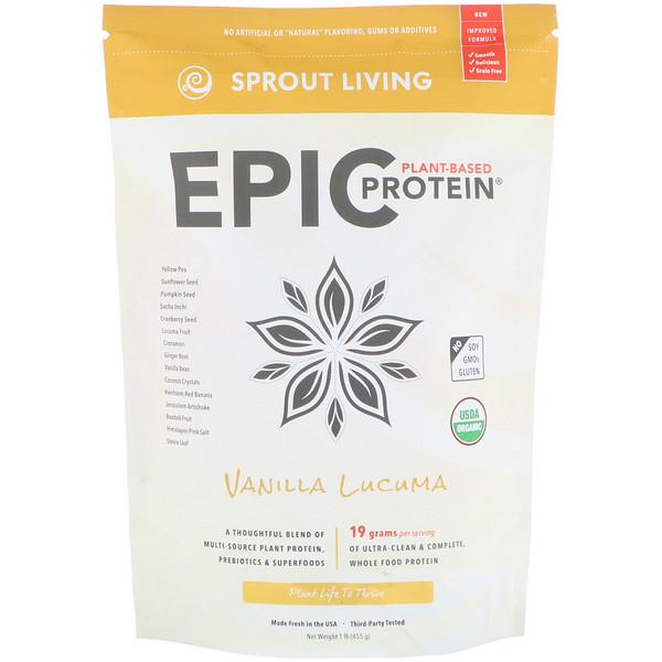 Sprout Living, Epic植物基蛋白粉,香草獅頭果,1磅(454克)