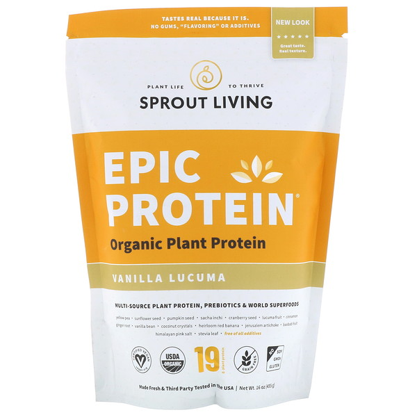 Sprout Living, Epic Protein, Vanilla Lucuma, 16 oz (455 g)