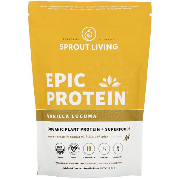 Epic Protein, Organic Plant Protein + Superfoods, Vanilla Lucuma, 1 lb (455 g)