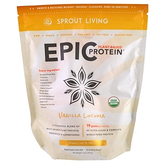 Sprout Living, Epic Protein, Vanilla Lucuma, 1 kg (1,000 g)