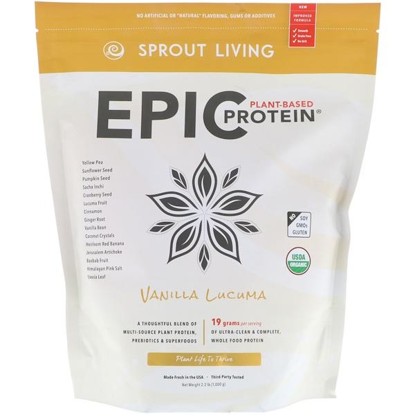 Sprout Living, Epic 植物蛋白,Vanilla Lucuma,2、2磅(1,000克)