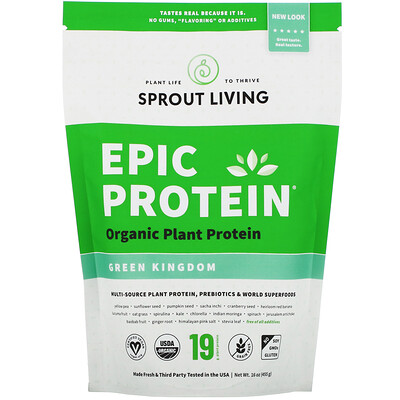 Купить Sprout Living Epic Protein, Organic Plant Protein + Superfoods, Green Kingdom, 16 oz (455 g)