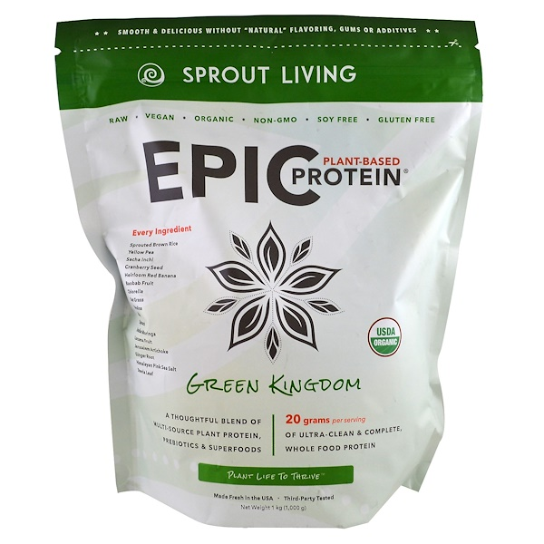 Sprout Living, Epic Protein, Green Kingdom, 1 kg (1,000 g) (Discontinued Item)