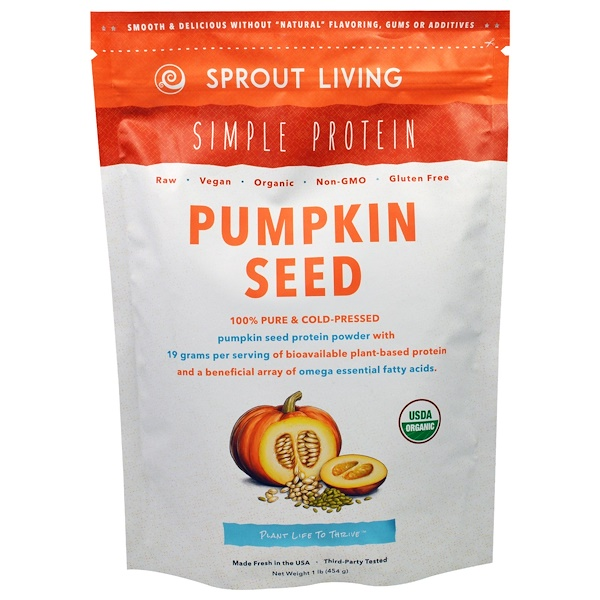 Sprout Living, Simple Protein, Organic Pumpkin Seed Protein Powder, 1 lb (454 g) - iHerb.com