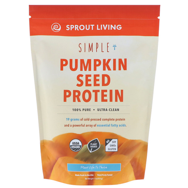 Sprout Living, Simple, Organic Pumpkin Seed Protein, 1 lb (454 g)