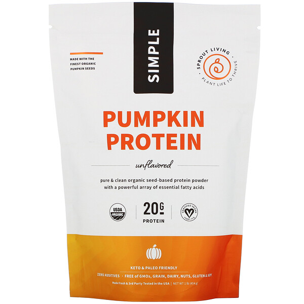 Simple Protein, Organic Plant Protein, Pumpkin Seed (Unflavored), 1 lb (454 g)