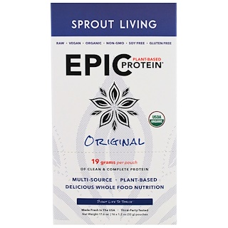 Sprout Living, Epic Plant-Based Protein, Original, 16 Pouches, 1.2 oz (32 g) Each