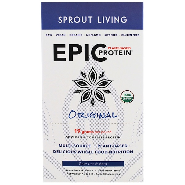 Sprout Living, Epic Plant-Based Protein, Original, 16 Pouches, 1.2 oz (32 g) Each (Discontinued Item)