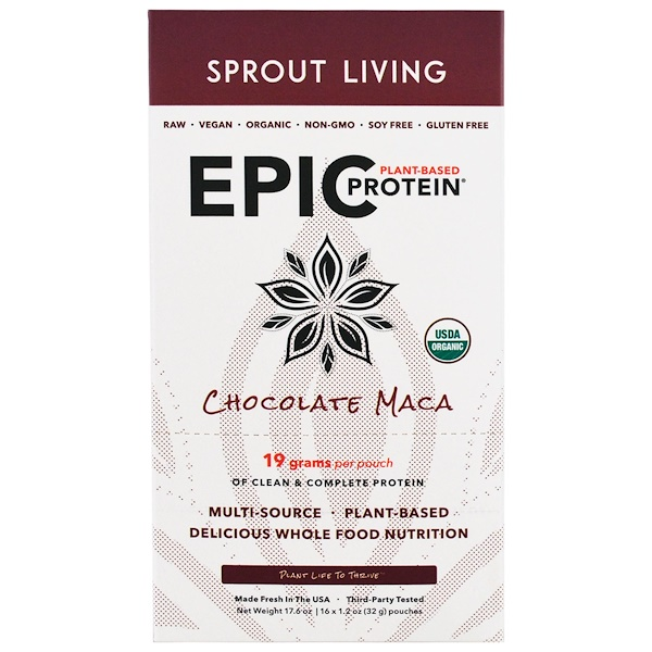Sprout Living, Epic Plant-Based Protein, Chocolate Maca, 12 Pouches, 1.2 oz (32 g) Each (Discontinued Item)