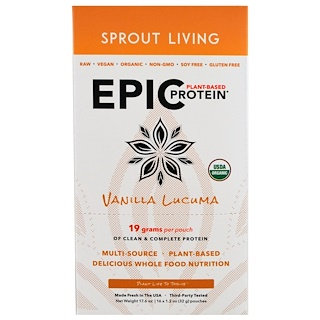Sprout Living, Organic, Epic Plant-Based Protein, Vanilla Lucuma, 16 Pouches, 1.2 oz (32 g) Each