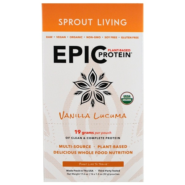 Sprout Living, Organic, Epic Plant-Based Protein, Vanilla Lucuma, 16 Pouches, 1.2 oz (32 g) Each (Discontinued Item)