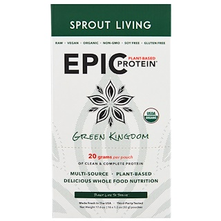 Sprout Living, Organic, Epic Plant-Based Protein, Green Kingdom, 16 Pouches, 1.2 oz (32 g) Each
