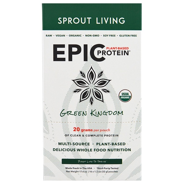 Sprout Living, Organic, Epic Plant-Based Protein, Green Kingdom, 16 Pouches, 1.2 oz (32 g) Each (Discontinued Item)