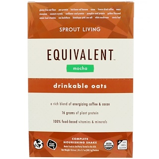 Sprout Living, Equivalent, Drinkable Oats, Mocha, 8 Packets, 1.7 oz (48.5 g) Each