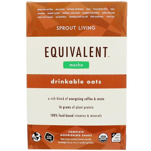 Sprout Living, 代餐,可飲用燕麥,摩卡,8包,每包1、7盎司(48、5克)