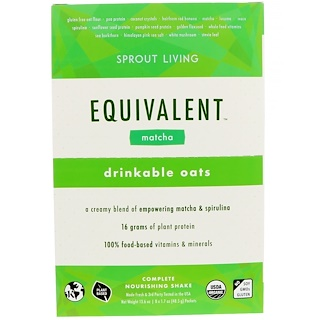 Sprout Living, Equivalent, Drinkable Oats, Matcha, 8 Packets, 1.7 oz (48.5 g) Each