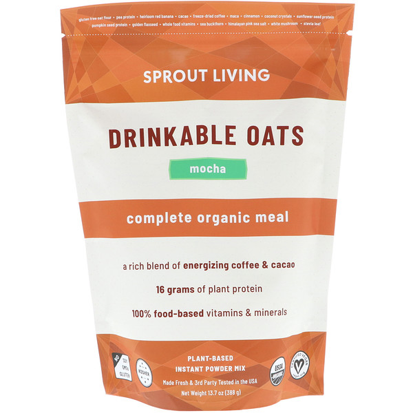 Sprout Living, Drinkable Oats, Complete Organic Meal, Mocha, 13.7 oz (388 g)