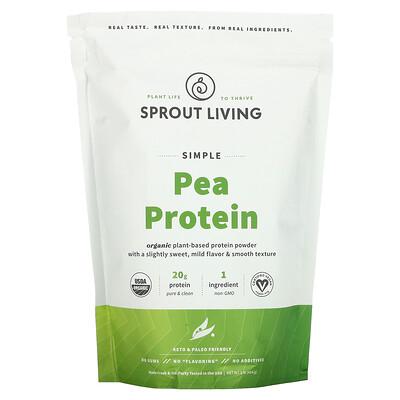 Купить Sprout Living Simple, органический гороховый протеин, без добавок, 454г (1фунт)